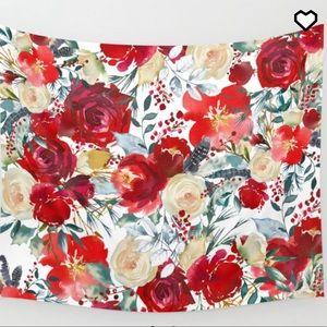 Society6 Red Flower Tapestry